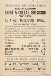 Advert for the Old Established Shirt & Collar Dressing Works, laundry